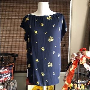 Darling navy blue with yellow floral Loft blouse